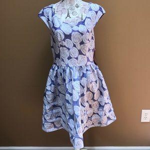 Betsey Johnson Blue Rose Dress 14 New